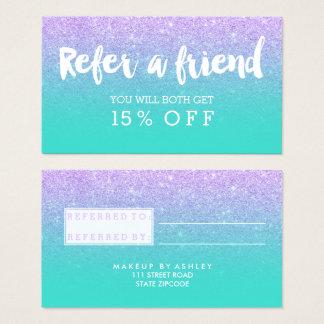 Referral card modern typography lavender glitter