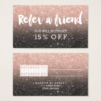 Referral card typography rose gold black glitter