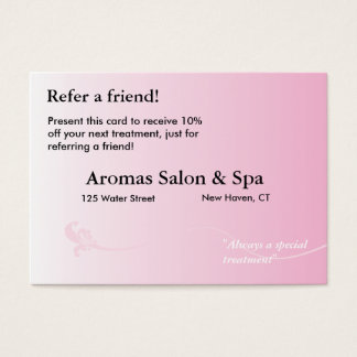 Referral Card with shaded pink background