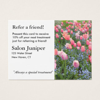 Referral Card with Tulips and Forget-Me-Nots