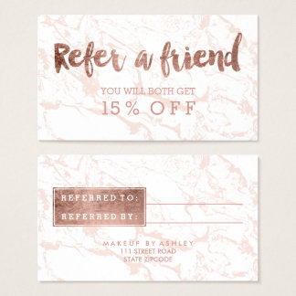 Referral modern rose gold typography pink marble business card