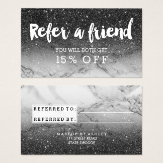 Referral modern typography black glitter marble business card