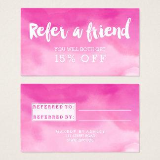 Referral modern typography watercolor pink ombre business card