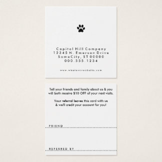 referral pet paw square square business card