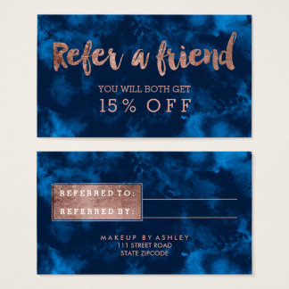 Referral rose gold typography navy blue watercolor business card