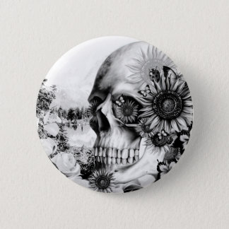 Reflection. Floral landscape skull. 6 Cm Round Badge