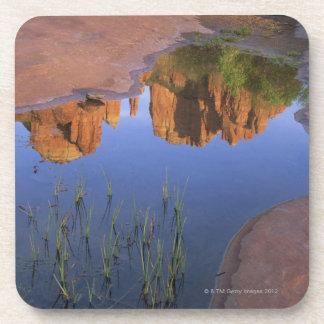 Reflection of Cathedral Rock , Sedona , Arizona Beverage Coasters