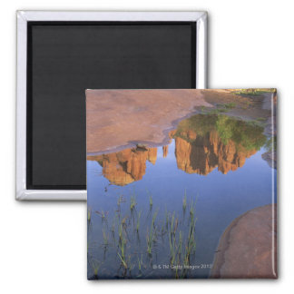 Reflection of Cathedral Rock , Sedona , Arizona Square Magnet