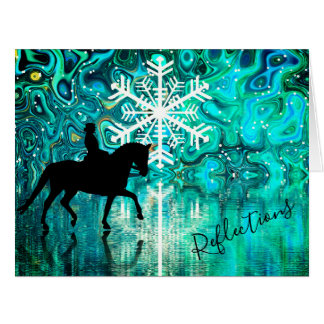 Reflections Dressage Horse Winter Snowflake BIG Card