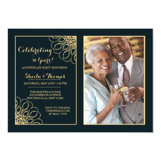 Regal Anniversary Photo Invitation