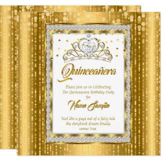 Regal Princess Quinceanera Gold White Diamond Card
