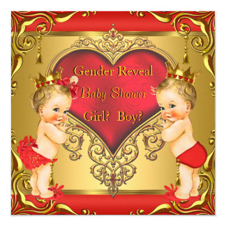 Regal Red Gold Gender Reveal Baby Shower Blonde 13 Cm X 13 Cm Square Invitation Card