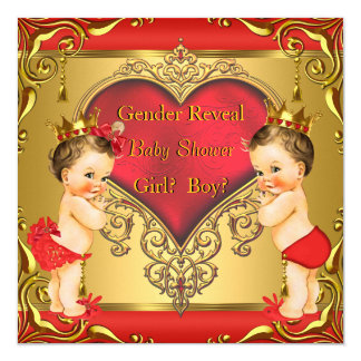 Regal Red Gold Gender Reveal Baby Shower Brunette 13 Cm X 13 Cm Square Invitation Card