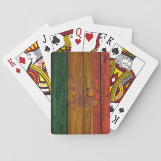 reggae lion crest on wood texture playing cards