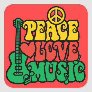 Reggae Peace Love Music Square Sticker