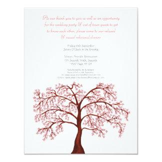 "Rehearsal Dinner Cherry Blossom Sakura Tree Invite 4.25"" X 5.5"" Invitation Card"