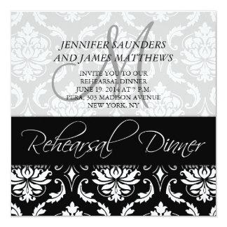 Rehearsal Dinner Invitation Damask Monogram