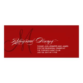 Rehearsal Dinner Invitation Monogram Dark Red