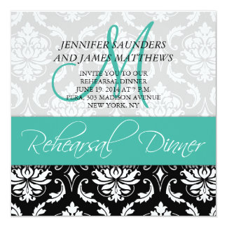Rehearsal Dinner Invite Damask Monogram Turquoise