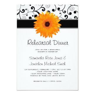 Rehearsal Dinner Orange Gerbera Daisy Black Scroll 13 Cm X 18 Cm Invitation Card