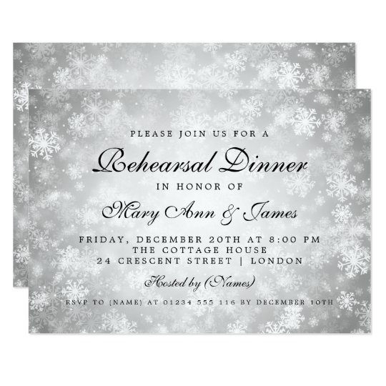 Rehearsal Dinner Silver Winter Wonderland Card