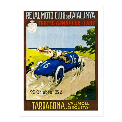 Reial Moto Club de Catalunya Retro Postcard