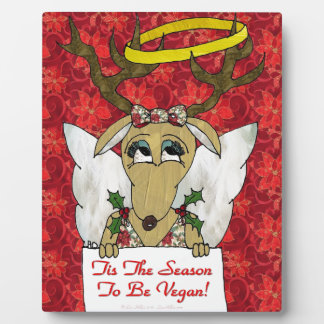 Reindeer Angel Tis The Season to Be Vegan Plaque