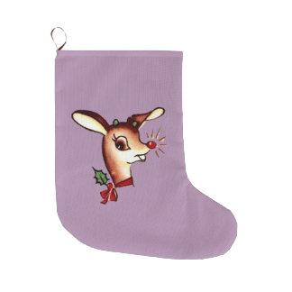 Reindeer Blue Christmas Stocking