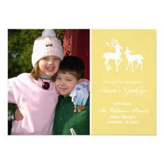 Reindeer Christmas Card Season s Greetings Gold Personalized Announcement