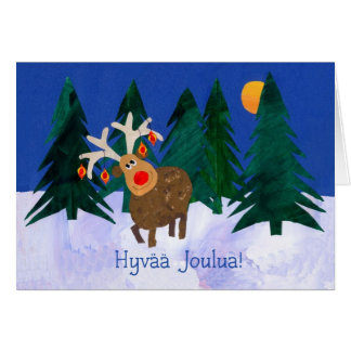 'Reindeer' Christmas Card with Finnish Greeting