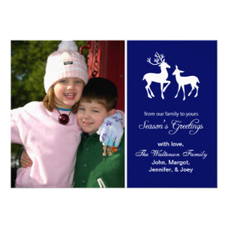 Reindeer Christmas Season s Greetings Navy Blue Personalized Announcement