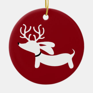 Reindeer Doxie on Red Christmas Ornament