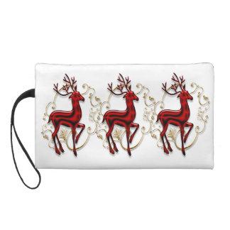 Reindeer elegant red gold women evening wristlets