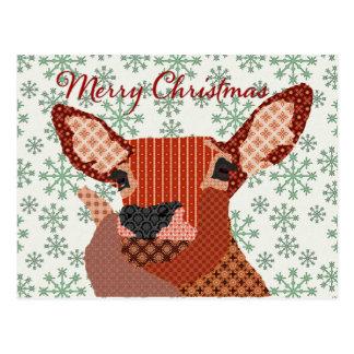 Reindeer Green Snowflake Christmas Postcard