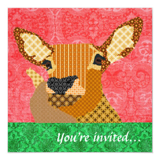 Reindeer Red Green 5.25x5.25 Square Paper Invitation Card