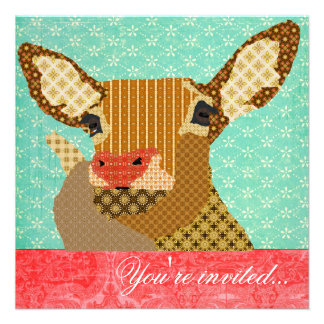 Reindeer Rudolph Turquoise Red Personalized Invitation