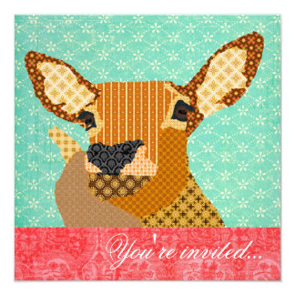 Reindeer Turquoise Red 13 Cm X 13 Cm Square Invitation Card
