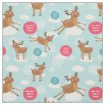 Reindeers Flying Custom Christmas Fabric