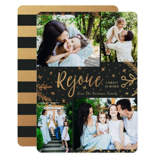 Rejoice | Collage Christmas Card | Faux Foil Black