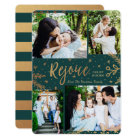 Rejoice | Collage Christmas Card | Faux Foil Green