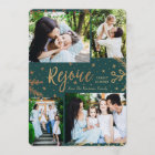 Rejoice | Collage Christmas Card | Faux Foil Green