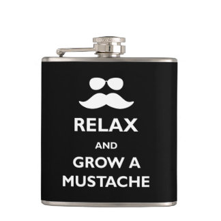 Relax and Grow a Mustache Hip Flask