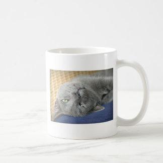 Relax! Grey Purring Cat Coffee Mug