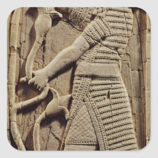 Relief depicting a warrior square sticker