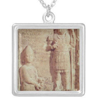 Relief depicting Aphlad, god of village of Silver Plated Necklace