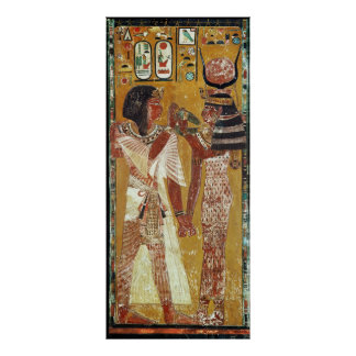 Relief depicting the Goddess Hathor placing Poster