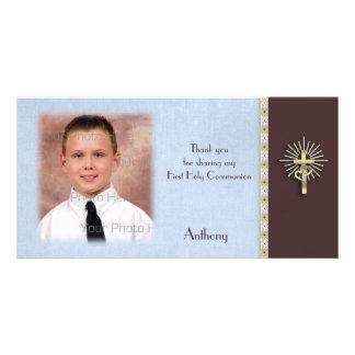 Religious Blue Brown Photo Card