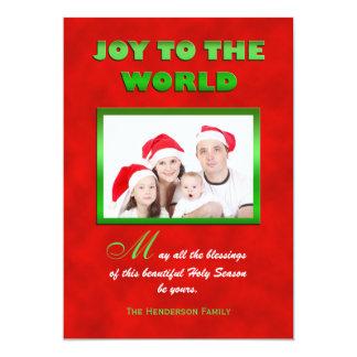 Religious Christmas Family Photo Flat Card
