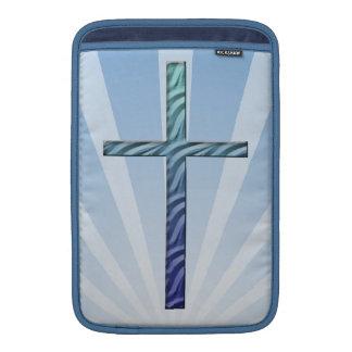 Religious Cross-with Blue Sunrays MacBook Sleeve