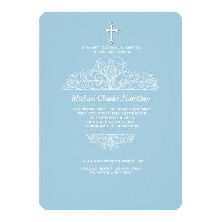 Religious Filigree Blue Invitation